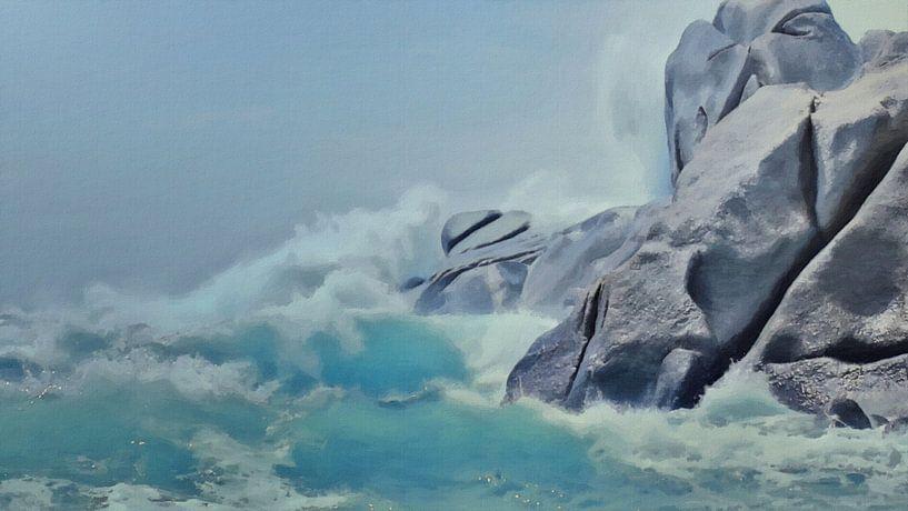 De Fallusrots in Grote Schuimende Golven - Sardinië - Capo Testa - Schilderij van Schildersatelier van der Ven