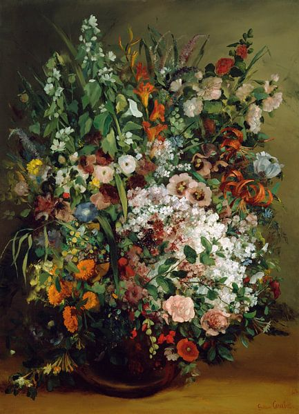 Bouquet of Flowers in a Vase, Gustave Courbet von Meesterlijcke Meesters