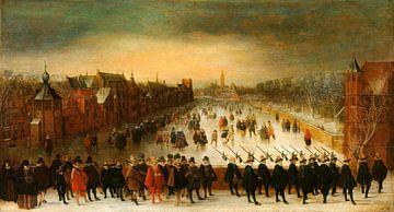 Der Vijverberg, Den Haag, im Winter, mit Prinz Maurits und seinem Gefolge im Vordergrund, Adam van B