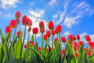 voorjaar met rode tulpen van eric van der eijk