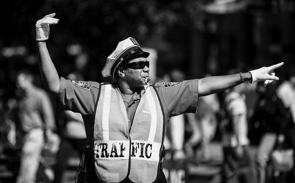 Verkeerspolitie New York (zwart-wit) van Jean-Paul Wagemakers