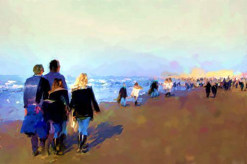 Een zondag op het strand van Frans Van der Kuil
