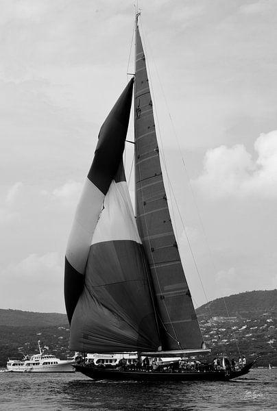 Zeilboot in de Golf van Saint-Tropez van Tom Vandenhende