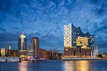 Nächtliche Skyline von Hamburg mit Elbphilharmonie von Michael Abid