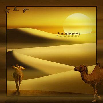 Kamelen in de woestijn II (vierkant) van Monika Jüngling