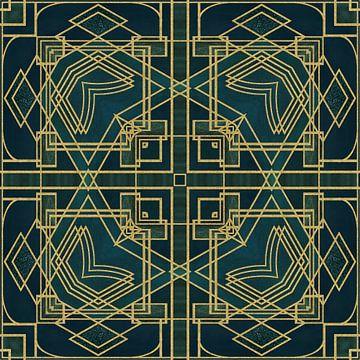 Art Deco Tegel Groen Goud van Andrea Haase