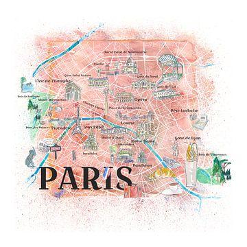 Geïllustreerde kaart van Parijs Frankrijk met hoofdwegen, bezienswaardigheden & hoogtepunten van Markus Bleichner