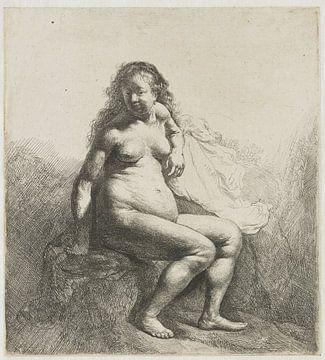 Nackte Frau, auf einer Plattform sitzend, Rembrandt van Rijn