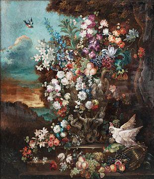 Stillleben mit Blumen, Jean-Baptiste Monnoyer von Meesterlijcke Meesters