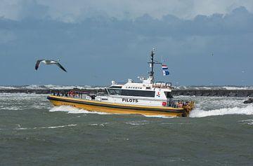 Pilottender Lacerta IJmuiden tijdens de storm IJmuiden. van scheepskijkerhavenfotografie