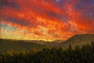 Gemalter Sonnenuntergang über den Hügeln von Luxemburg von Arjen Roos