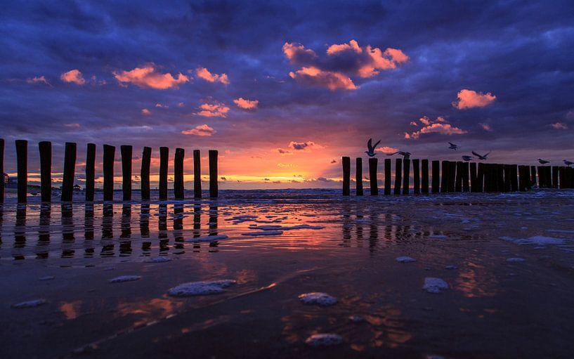 Cadzand Sunset 3 van Joram Janssen