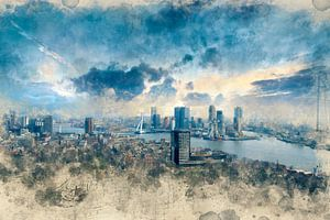 Rotterdam Skyline aquarel