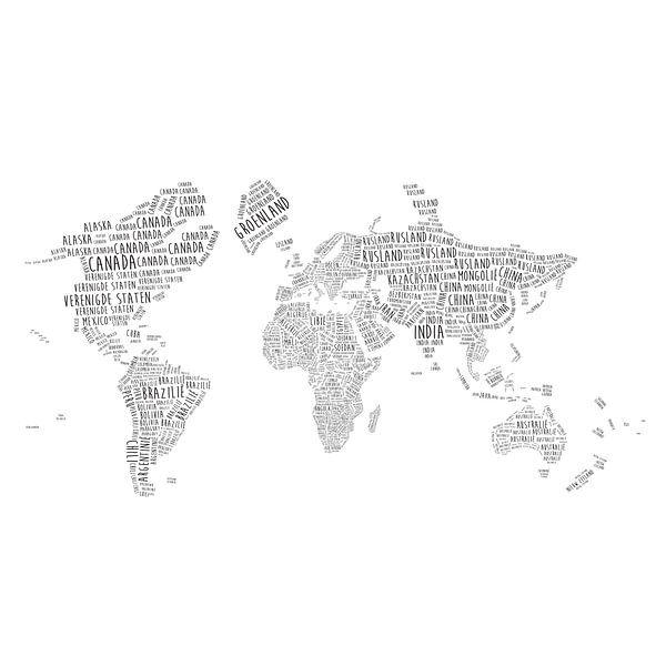 Typografische Wereldkaart Wandcirkel | Nederlandstalig van Wereldkaarten.Shop