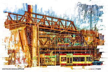 Dortmund Zugkreuzung mit Tram Pop Art von Johnny Flash
