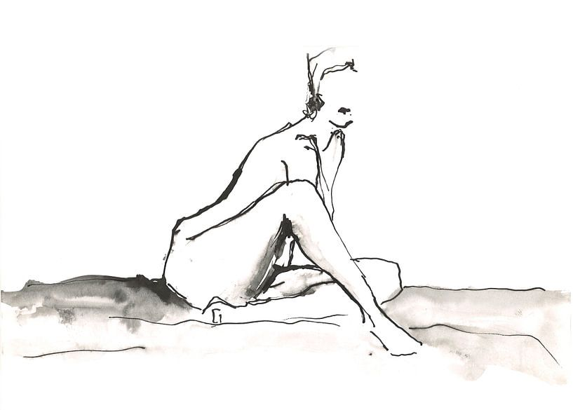 Zittend naakt von Desiree Meulemans