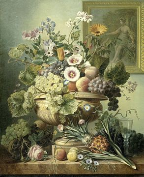 Stilleven met bloemen en fruit, Eelke Jelles Eelkema