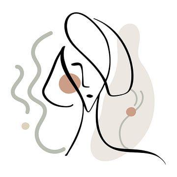 Linienzeichnung Gesichtsfrau mit abstrakten Formen und Linien von Diana van Tankeren