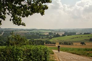Eenzame fietser op de Gulperberg in Zuid-Limburg