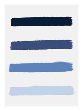 """""""Ocean Blue"""" Penseelstreken Print van MDRN HOME"""
