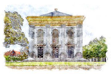 Rückseite der Nieuwe Kerk in Zierikzee (Zeeland) (Aquarell) von Art by Jeronimo