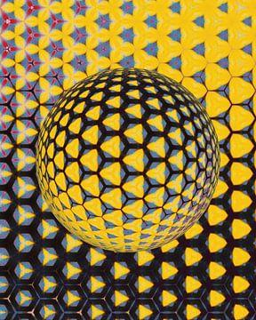 Abstract sfeer in zwart rood geel van Maurice Dawson