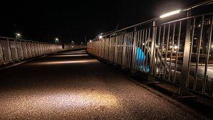 Betonnen wandelpad met led verlichte sfeerlampen en aluminum hekwerk
