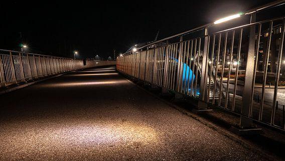 Betonnen wandelpad met led verlichte sfeerlampen en aluminum hekwerk van Fotografiecor .nl
