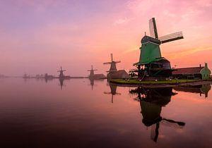 A misty sunrise by the Zaanse Schans (cropped version)
