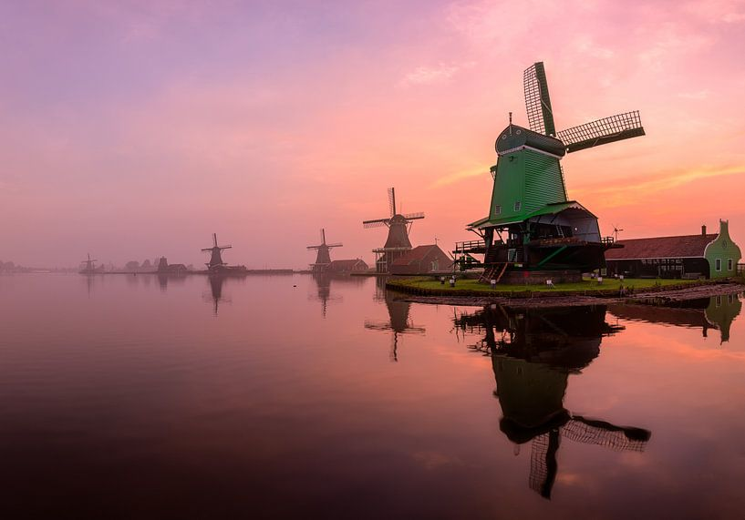 A misty sunrise by the Zaanse Schans (cropped version) van Costas Ganasos