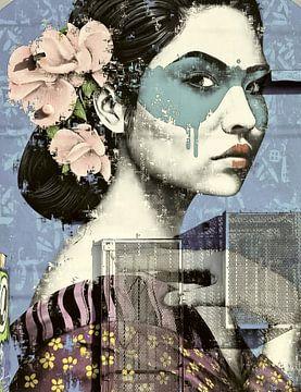 Frau mit bemaltem Gesicht. von Rudy & Gisela Schlechter
