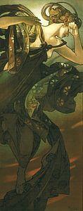 De Maan en de Sterren: De Avondster - Art Nouveau Schilderij Mucha Jugendstil van