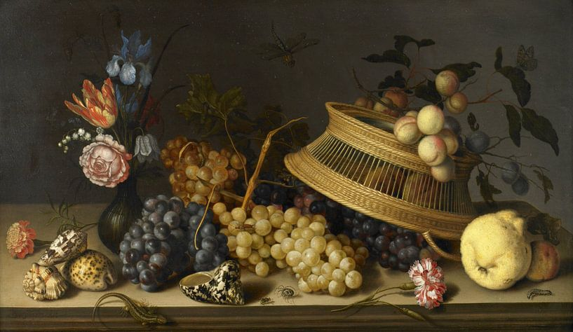 Stilleven van bloemen, fruit, schelpen en insecten, Balthasar van der Ast van Meesterlijcke Meesters