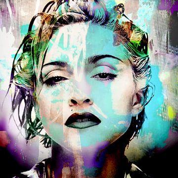 Madonna Abstrakt Porträt Blau Lila von Art By Dominic