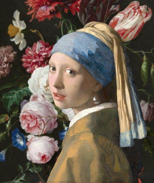 Mädchen mit der Vase, Collage nach Vermeer und de Heem von Masters Revisited