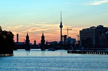 Skyline of Berlin on the river Spree van Silva Wischeropp