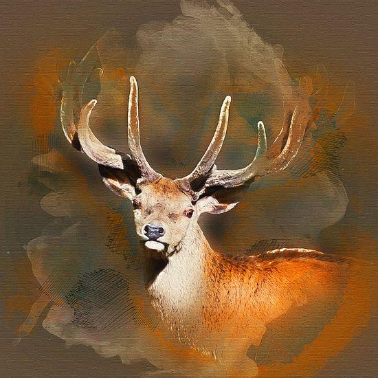 Hert met gewei van Art by Jeronimo