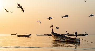 Coucher de soleil dans un village de pêcheurs en Gambie, Afrique. sur Ellis Peeters