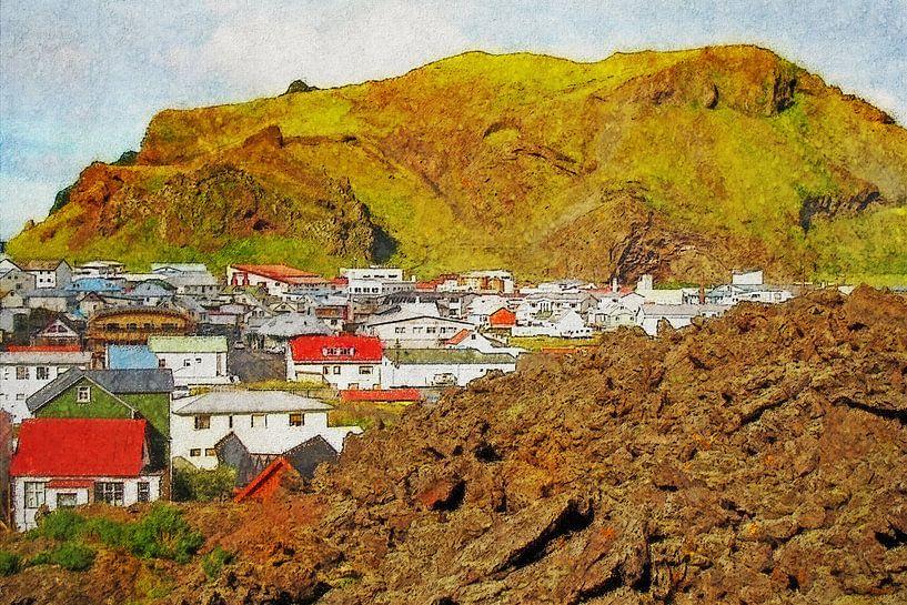 Nieuw Pompeï, Heimaey, IJsland van Frans Blok