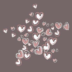 Herzform-Collage-Sternform in rosa und weißer Farbe