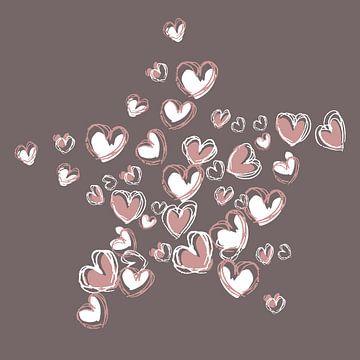 Hart vormen collage ster vorm in roze en witte kleur van Emiel de Lange