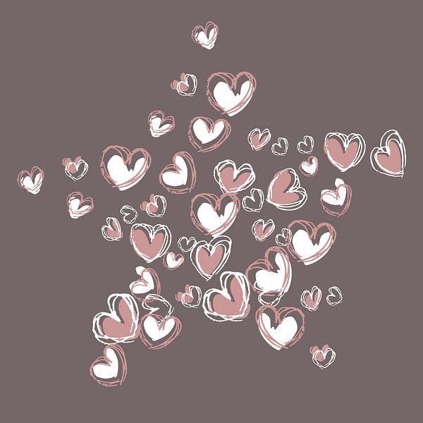 Herzform-Collage-Sternform in rosa und weißer Farbe von Emiel de Lange