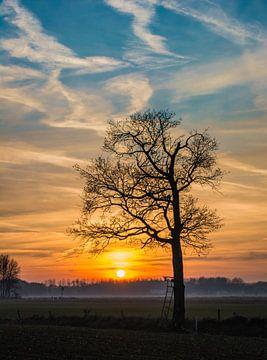 Zonsondergang silhouette van Victor Droogh