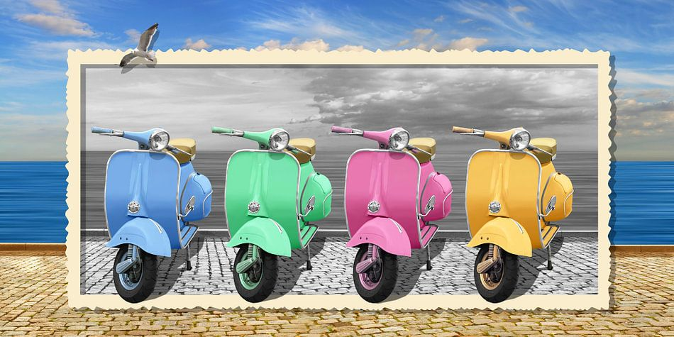 Bunte Vespa-Motorroller im nostalgie Rahmung