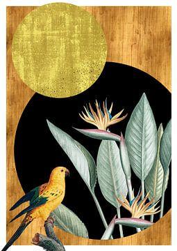 Vogel und Blumen im Kreis von Jadzia Klimkiewicz