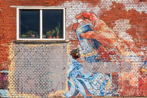 Plantenspuit op bakstenen muur