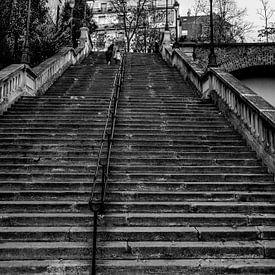 Betonnen trap in Parijs Zwart-Wit van Sandra van Kampen