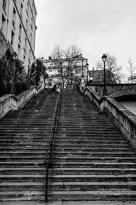Betonnen trap in Parijs Zwart-Wit van