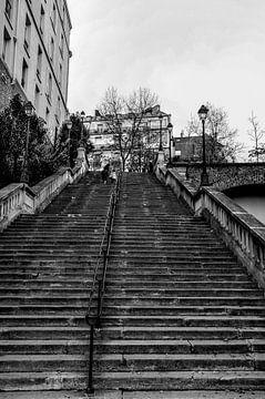 Betonnen trap in Parijs Zwart-Wit