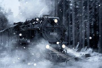train à vapeur dans la neige sur Kristof Ven